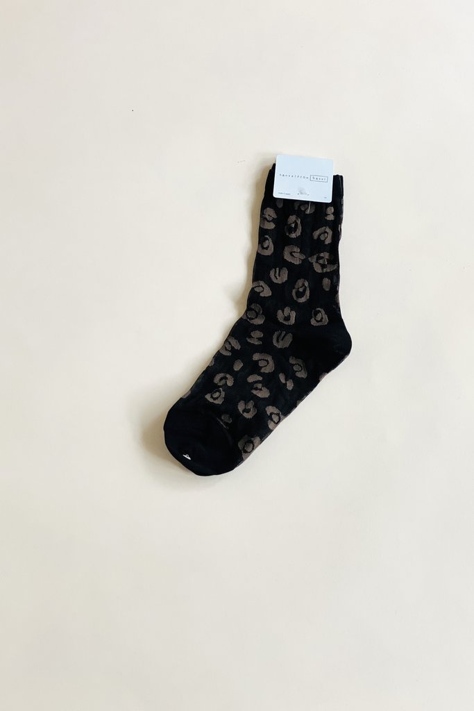Hansel From Basel Black and Grey Cheetah Sheer Crew Sock