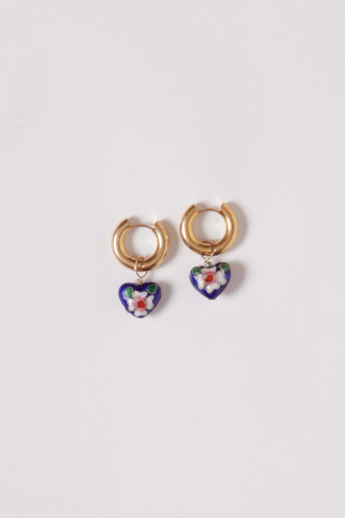 Et Toi Enameled Roma Heart  Earrings