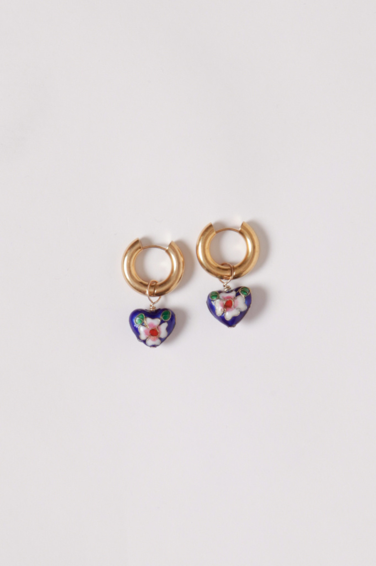 Et Toi Enameled Roma Heart  Earrings