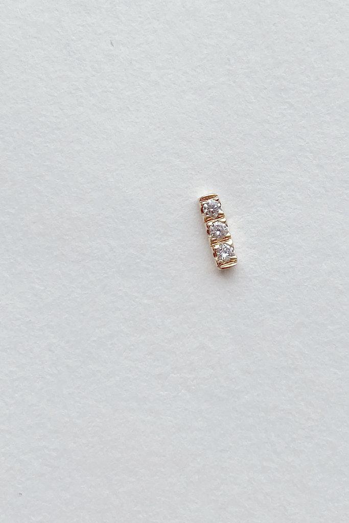 Hortense Hortense Tic Tac Diamond & Gold Bar Earring -Single