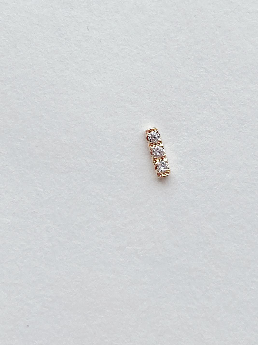 Hortense Hortense Tic Tac Diamond & Gold Bar Earring
