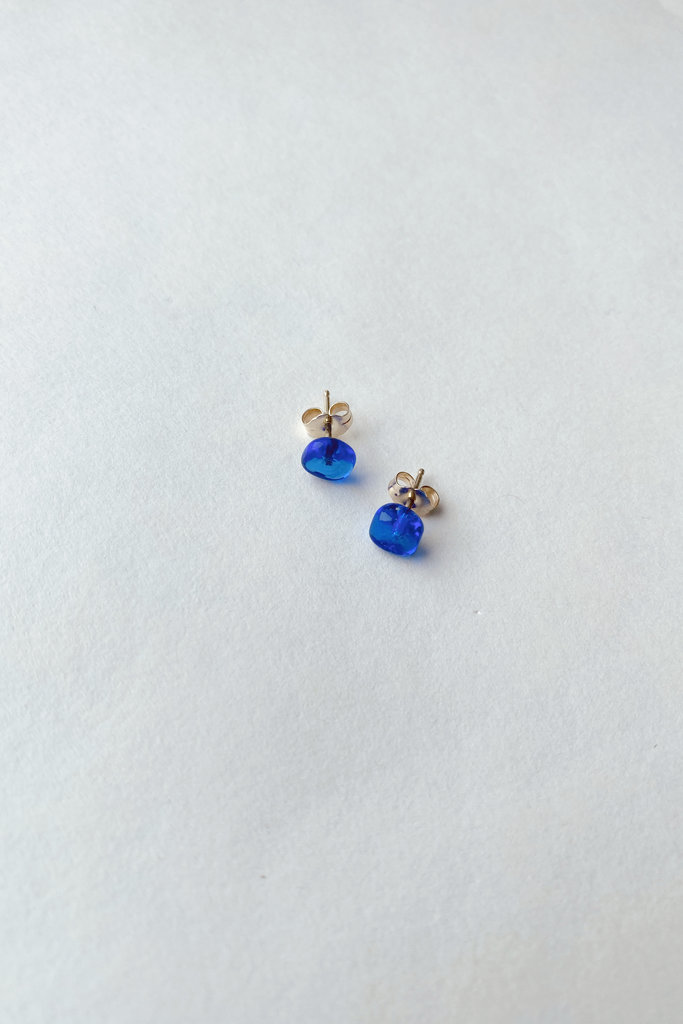 Medium Square Studs - 14k Gold and Glass