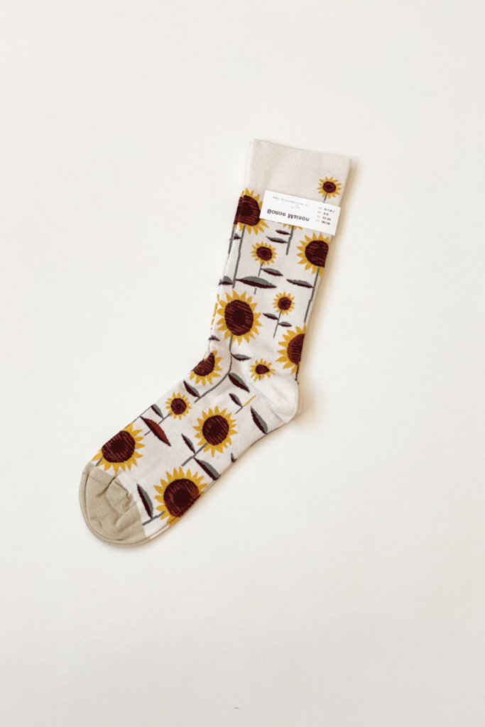Ivory Sunflower Socks