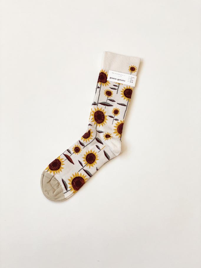 Ivory Sunflower Socks