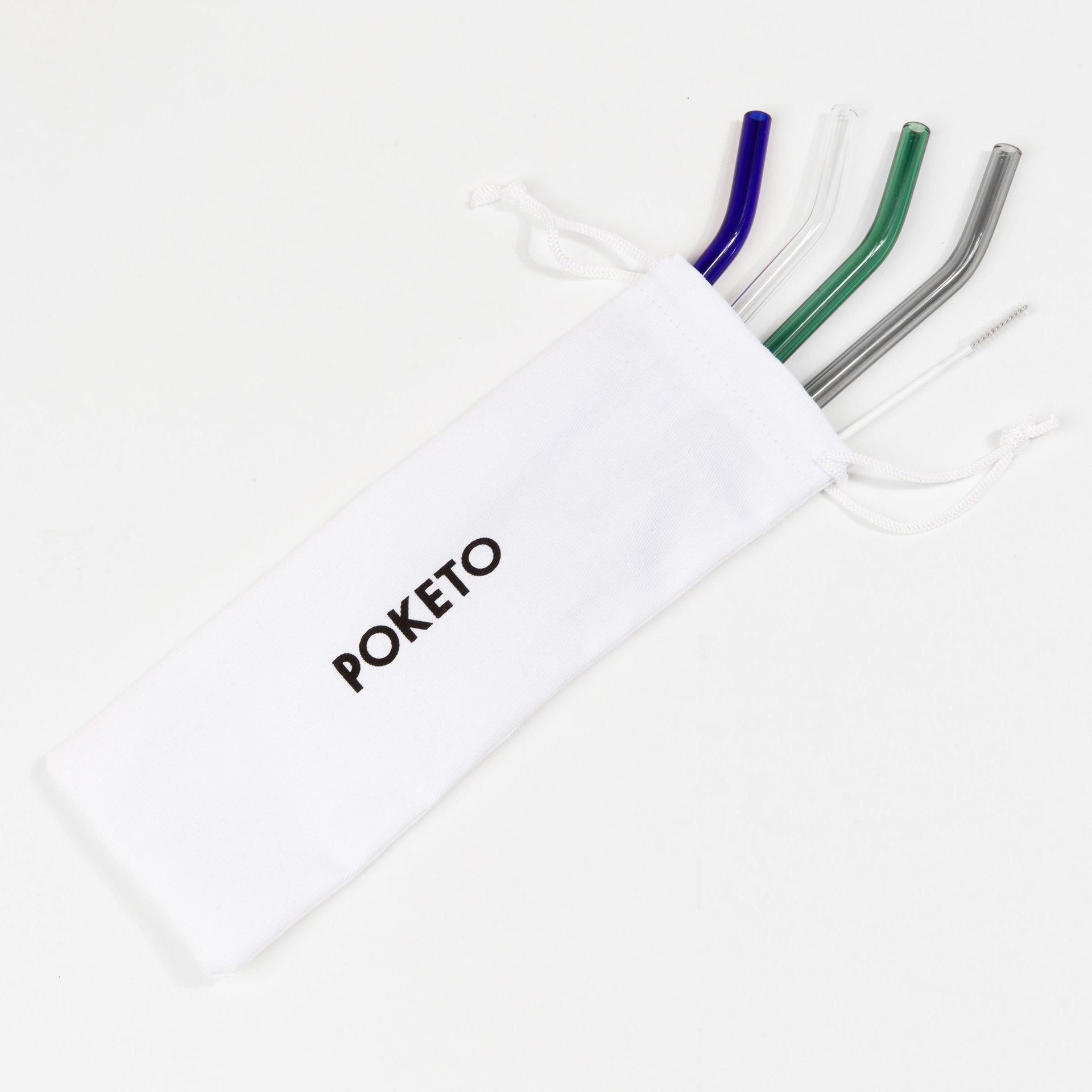 Poketo Cool Glass Straw Set