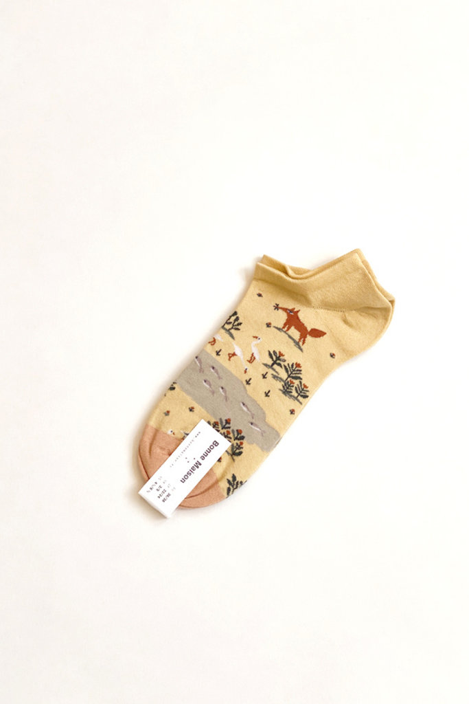 Bonne Maison yellow fox ankle socks