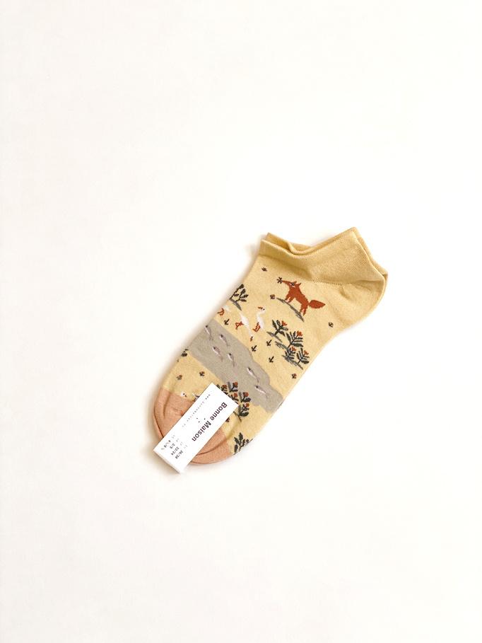 yellow fox ankle socks