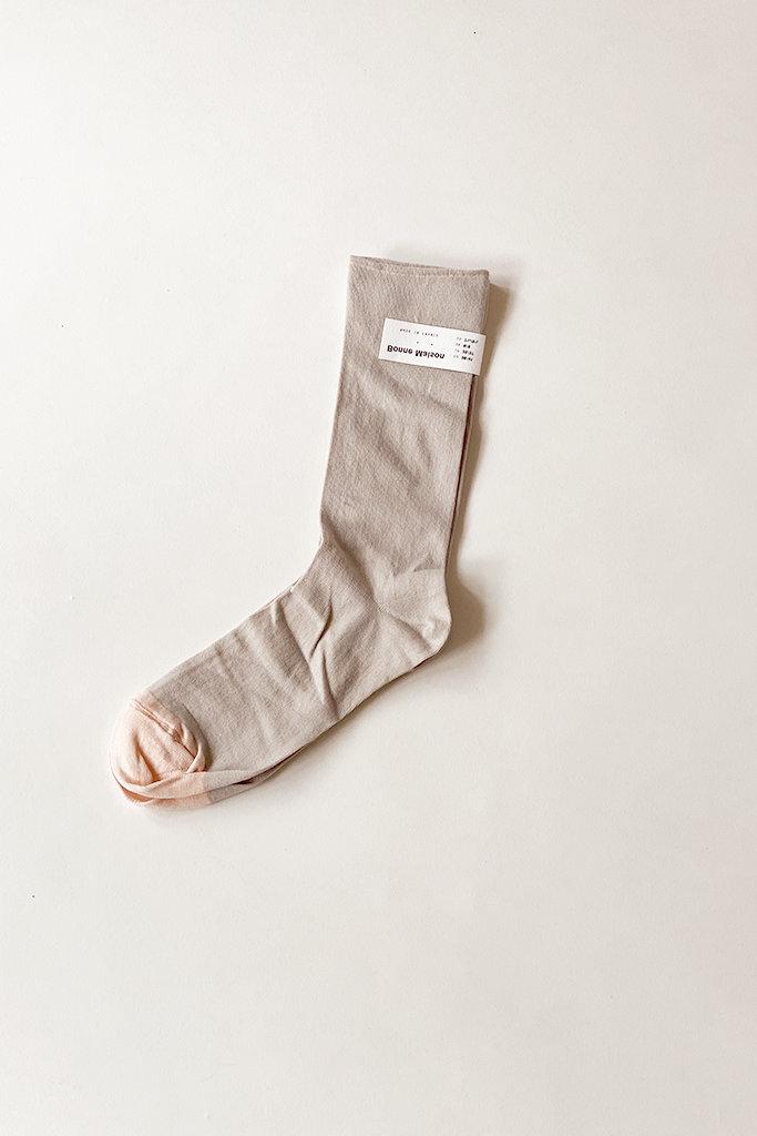 Bonne Maison Uni Contrast Toe Solid Trouser Socks