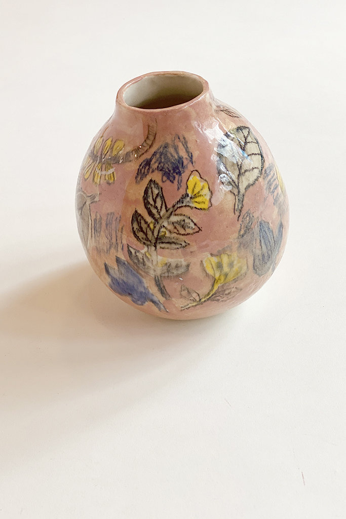 Alice Cheng Studio Round Hand Painted Floral Vase