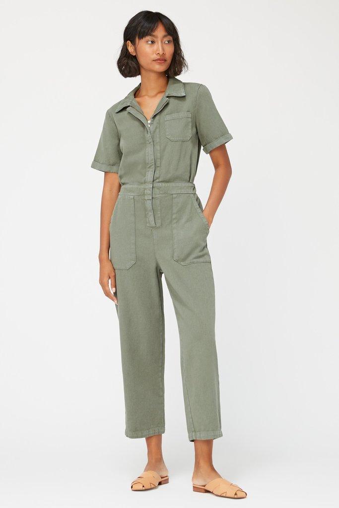 lacausa Lacausa Milwood Short Sleeve Jumpsuit in Seaweed Green