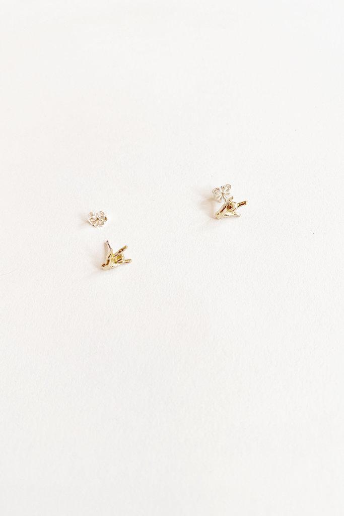 Satomi Studio Love Hand Stud / Brass, Sterling Silver