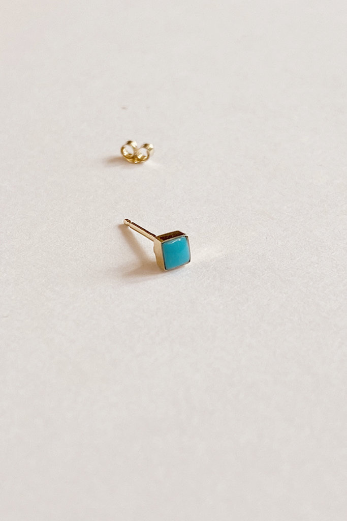Mociun Single Square Stud Turquoise