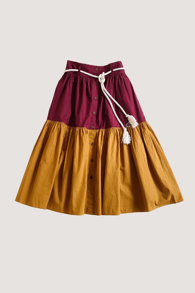 vanessa Bruno Vanessa Bruno Two-Tone High Waisted Cotton Skirt