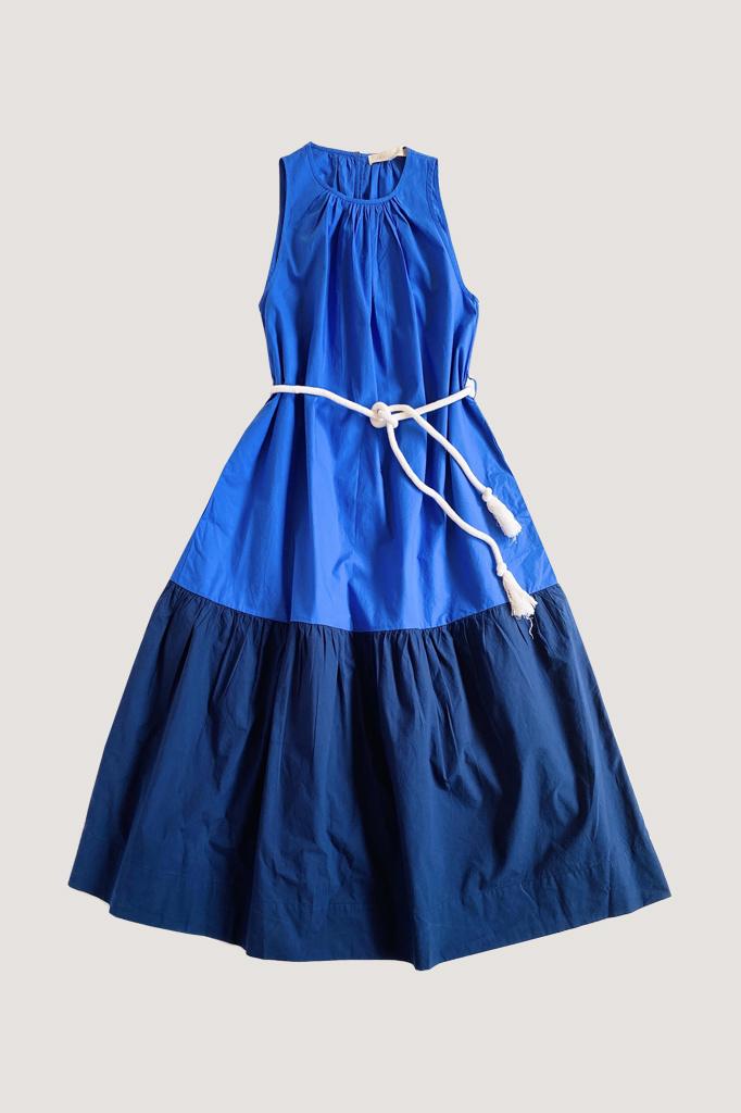 vanessa Bruno Vanessa Bruno Two-Tone Sleeveless Cotton Dress with Self-Tie Waist