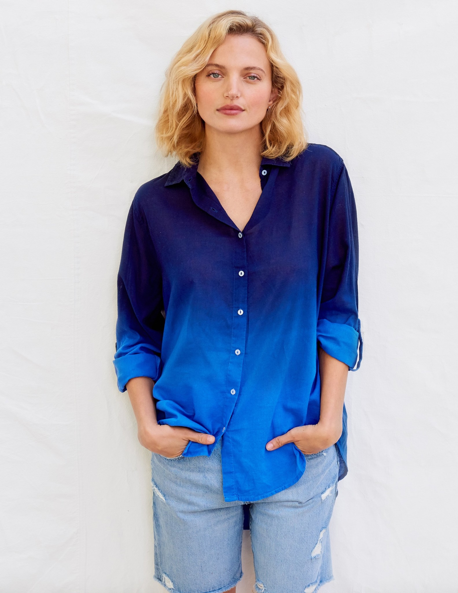 Sundry Blue Dip-Dyed Oversized Shirt
