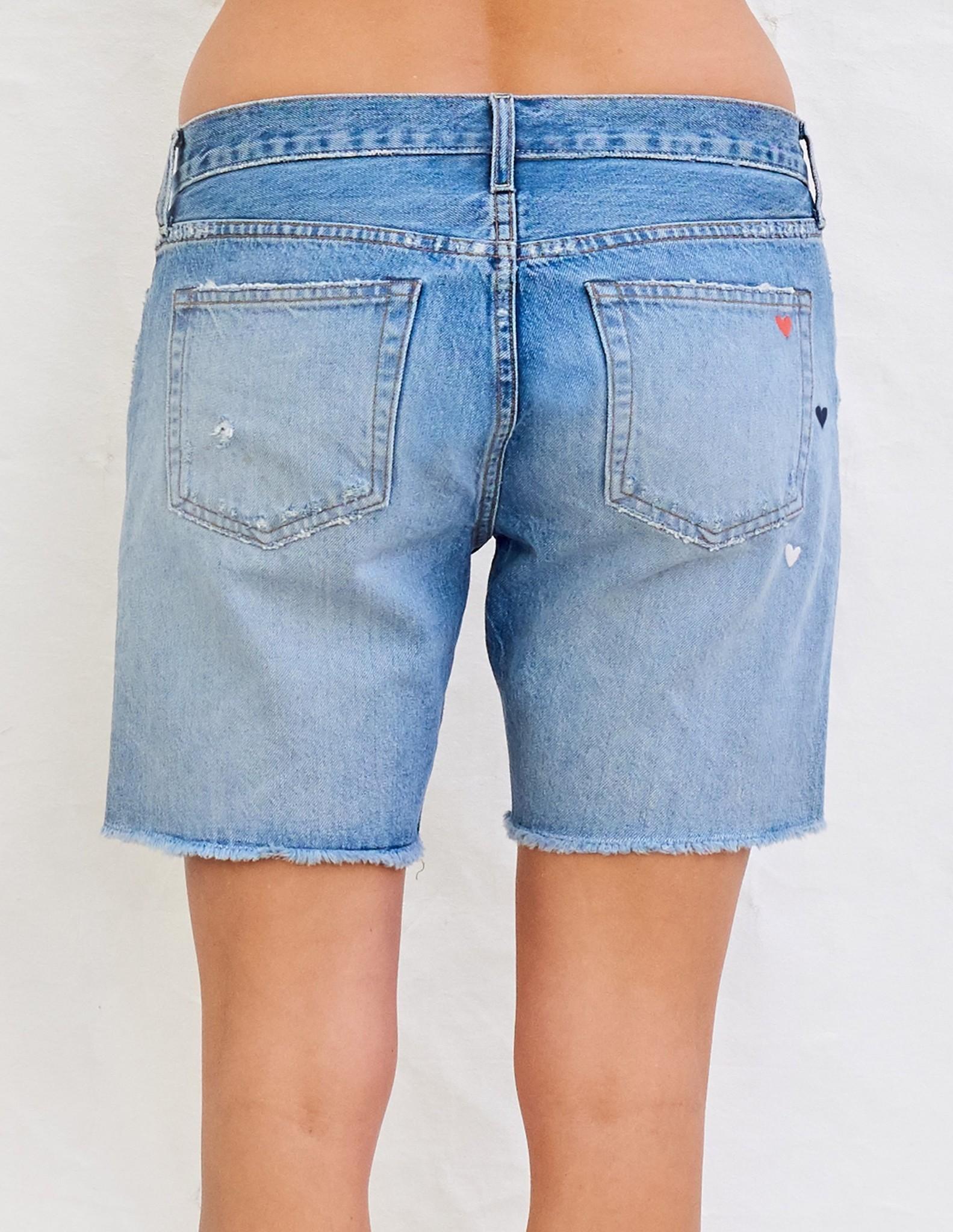 Sundry Heart Embroidered Denim Shorts