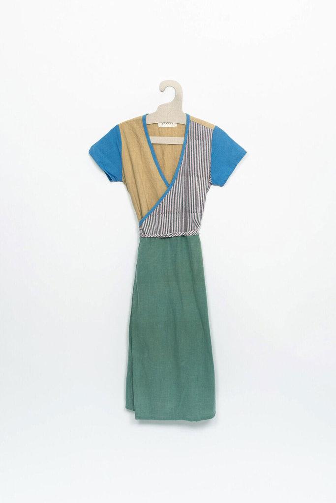 PO-EM Ode Multicolored  Panel Wrap Dress