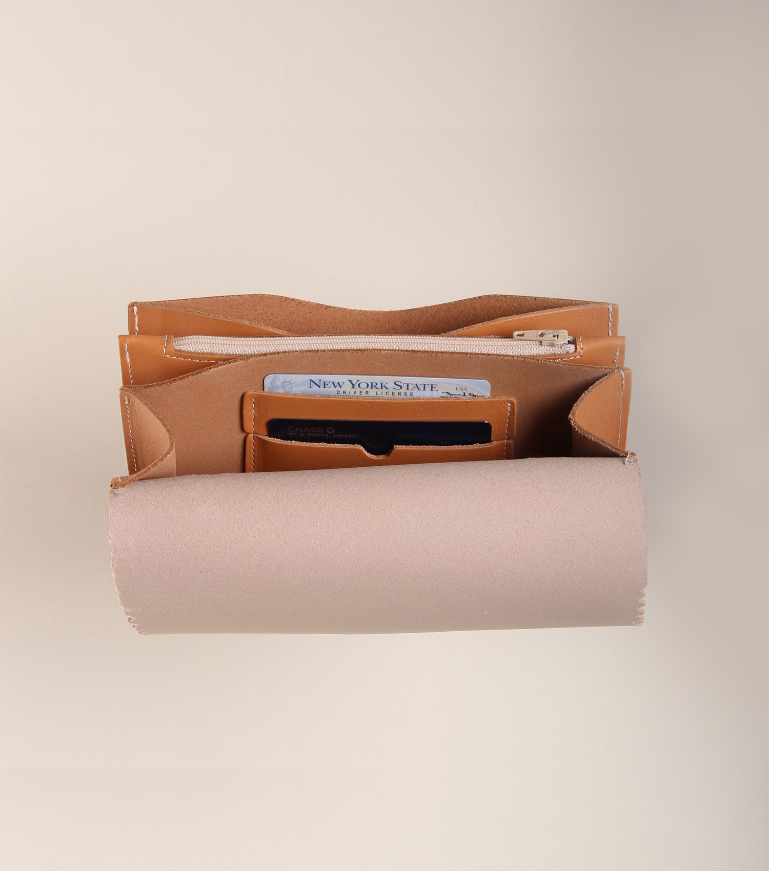 Fleabags Fleabags Accordion Waist Wallet in Blush and Tan Vaqueta Leather