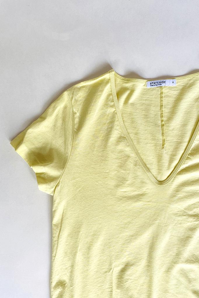 Stateside Supima Cotton U-Neck Tee in Yellow