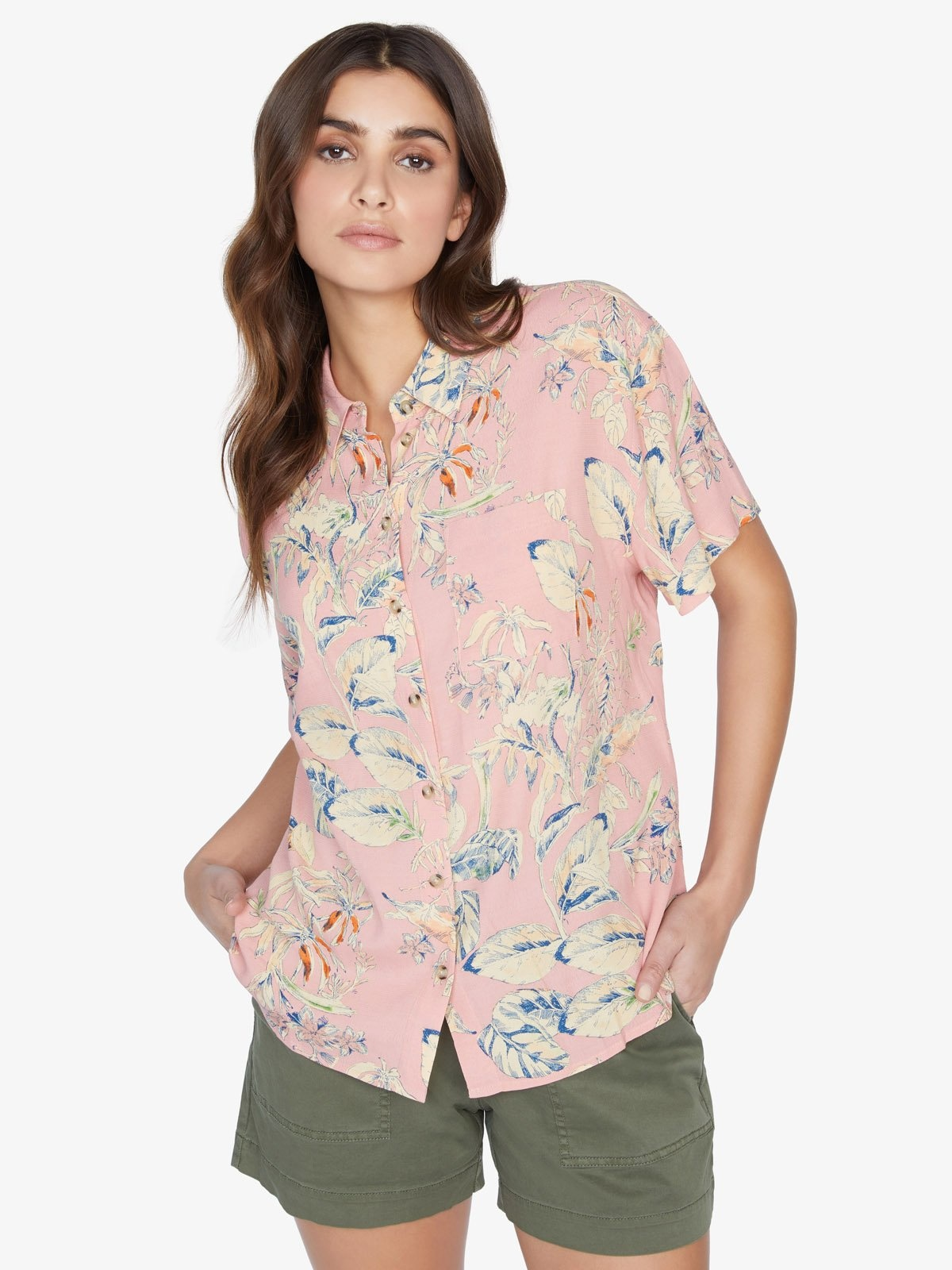 sanctuary Sanctuary Pink Botanical Print Resort Shirt