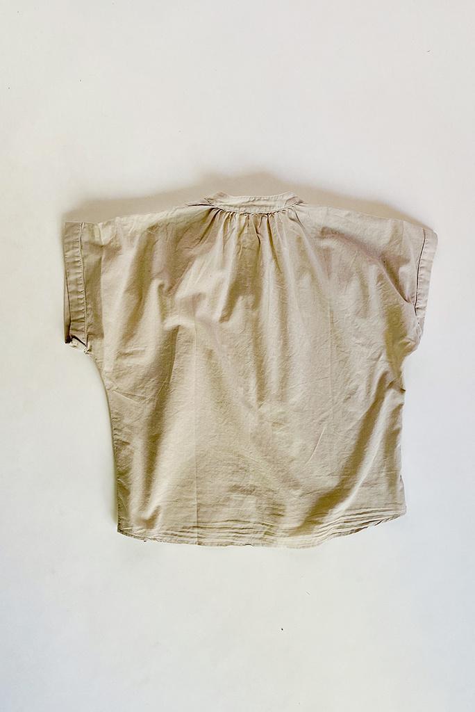 Felicite Felicite Short Sleeve Button-Up Cotton Top