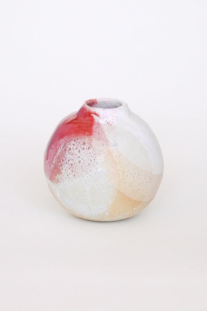 Alice Cheng Studio Globe White lava Vase with Splash of Red