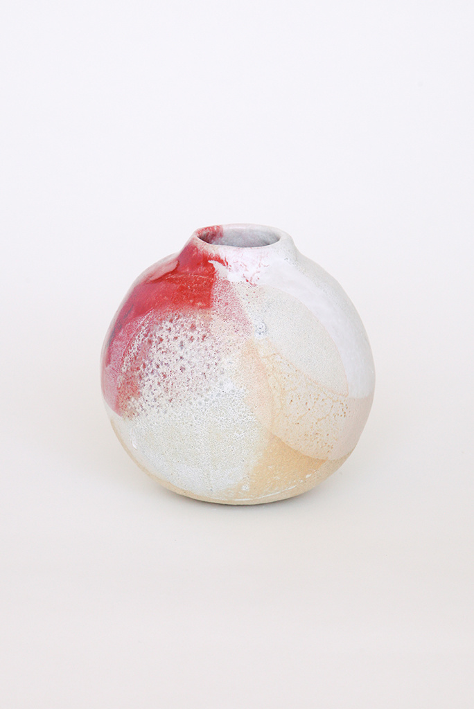 Alice Cheng Studio Globe White lava Vase with Splash of Red