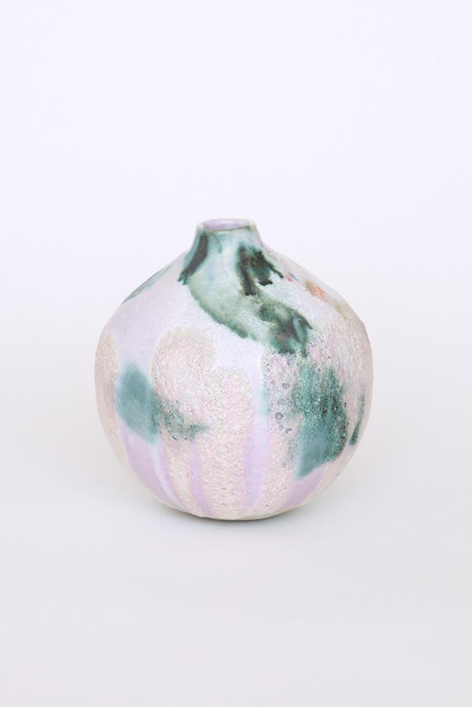Alice Cheng Studio Glacier Round Pinky Green Vase