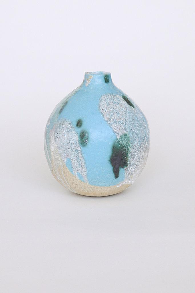 Alice Cheng Studio Large Round Blue Volcanic Vase