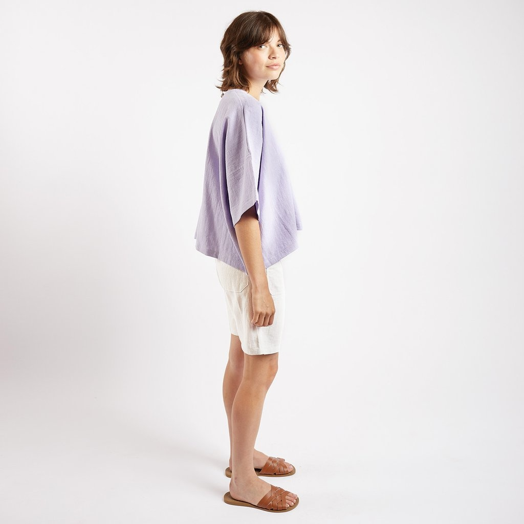 Kate Sheridan Edie Boxy Top in Lilac Linen