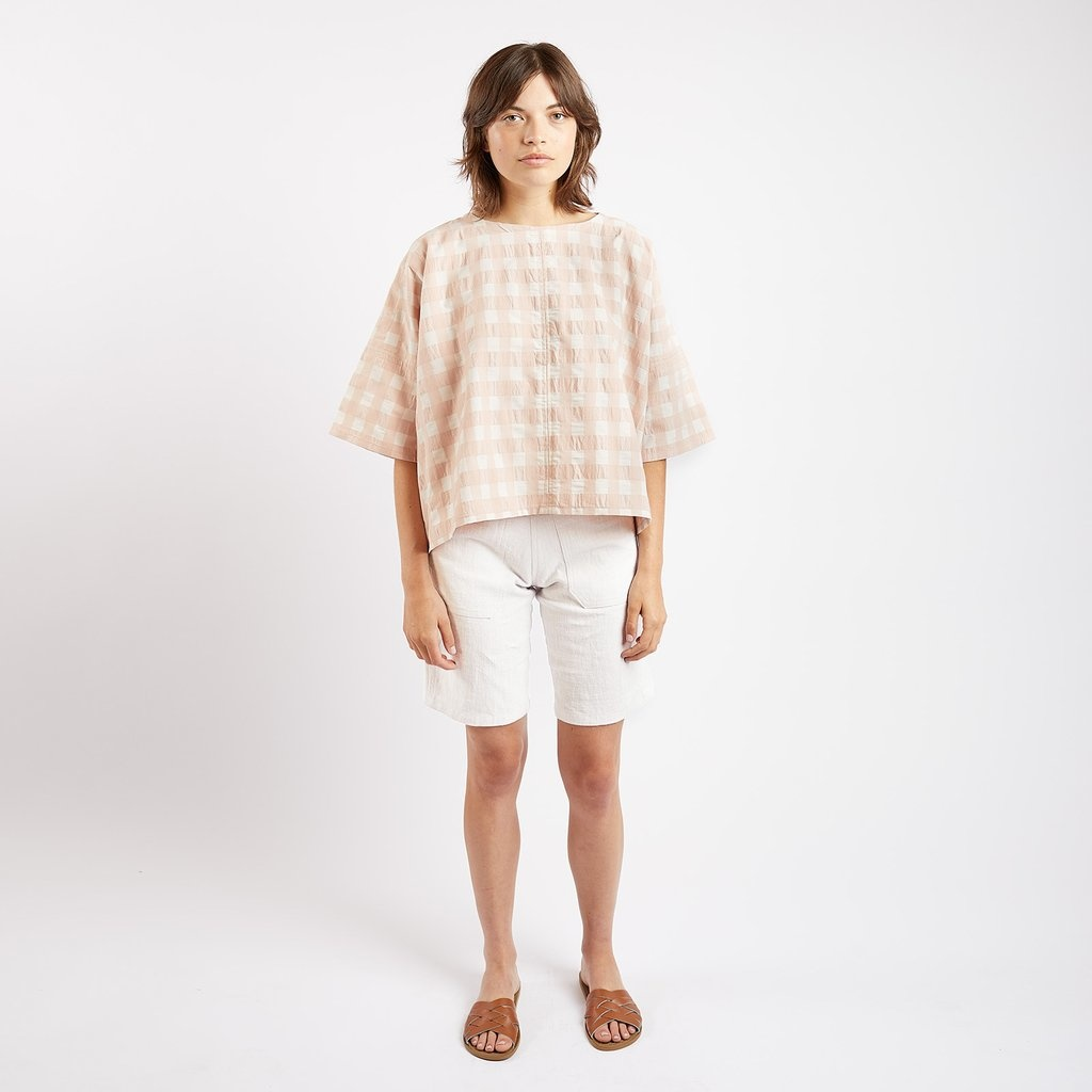 Kate Sheridan Edie Boxy Summer Top in Rose Gingham