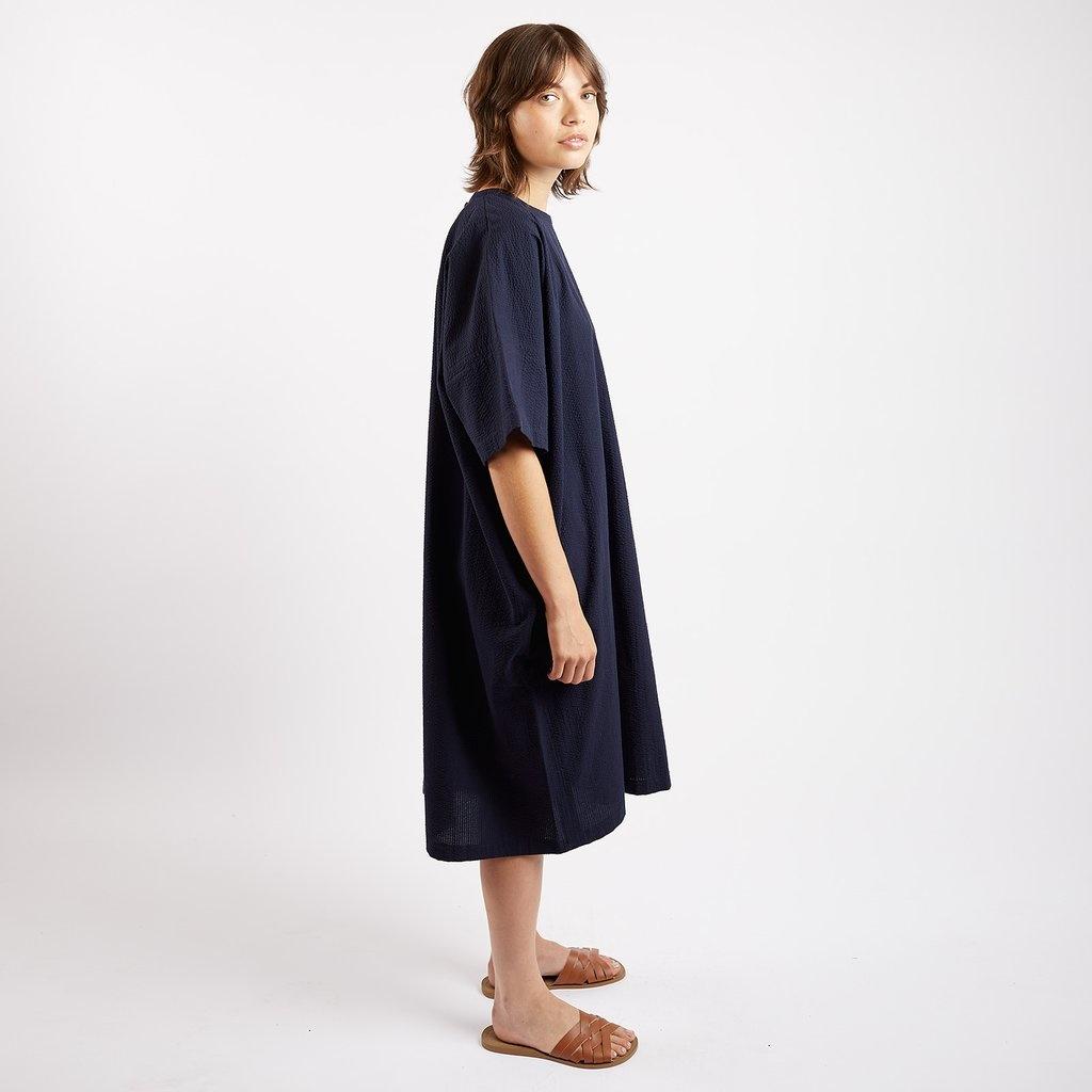 Kate Sheridan Edie Oversized Dress in Navy Seersucker