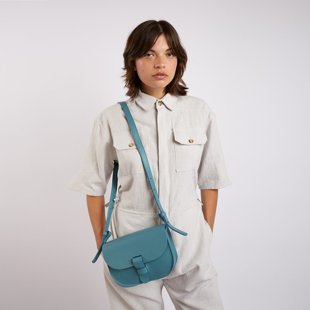 Kate Sheridan Celeste Loop Leather Shoulder Bag in Sky Blue
