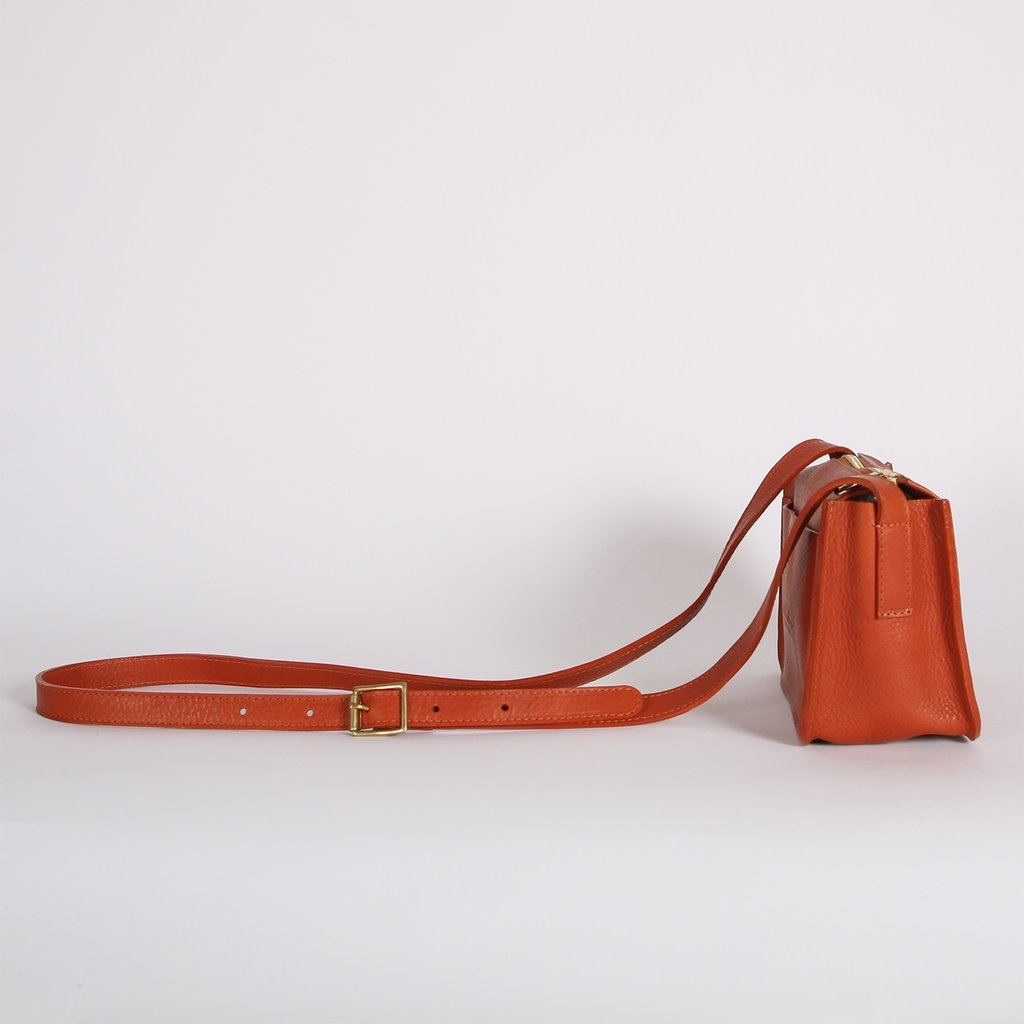 Kate Sheridan Alpha Leather Bag in Mattone Brown