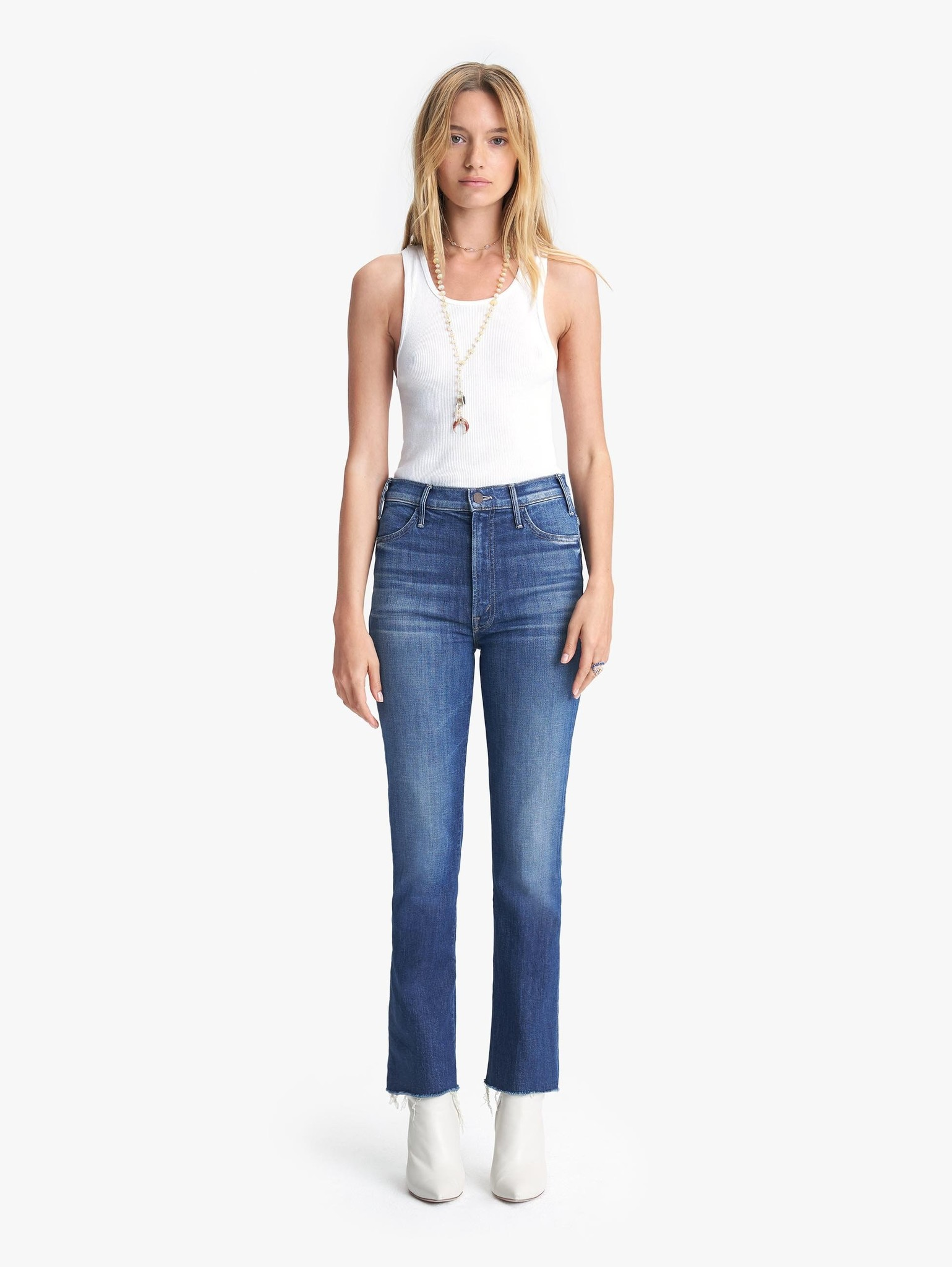 Mother Mother The Hustler Ankle Fray High Rise Bootcut Jeans