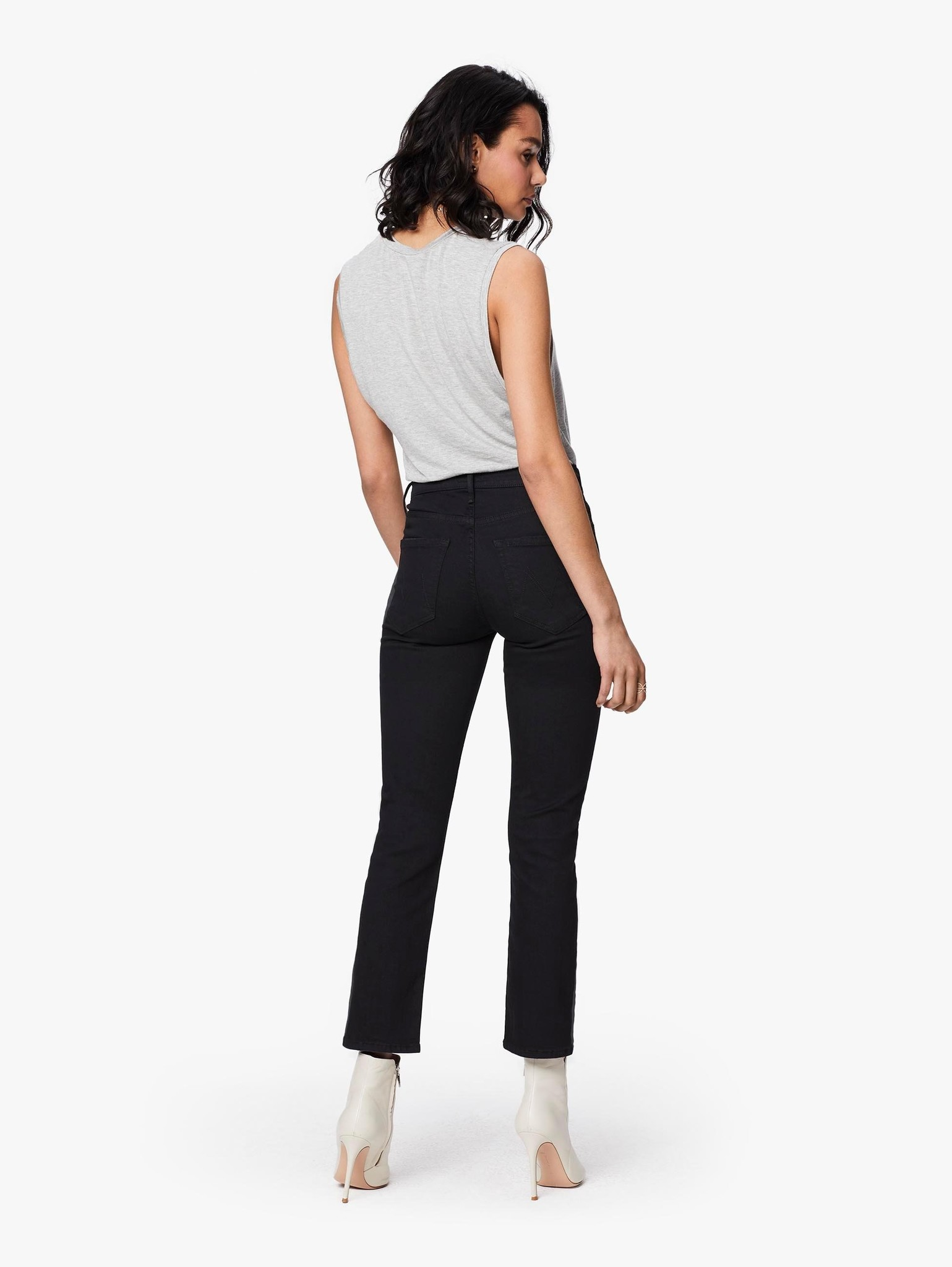 Mother Mother Midrise Dazzler Ankle Black Stretch Jeans