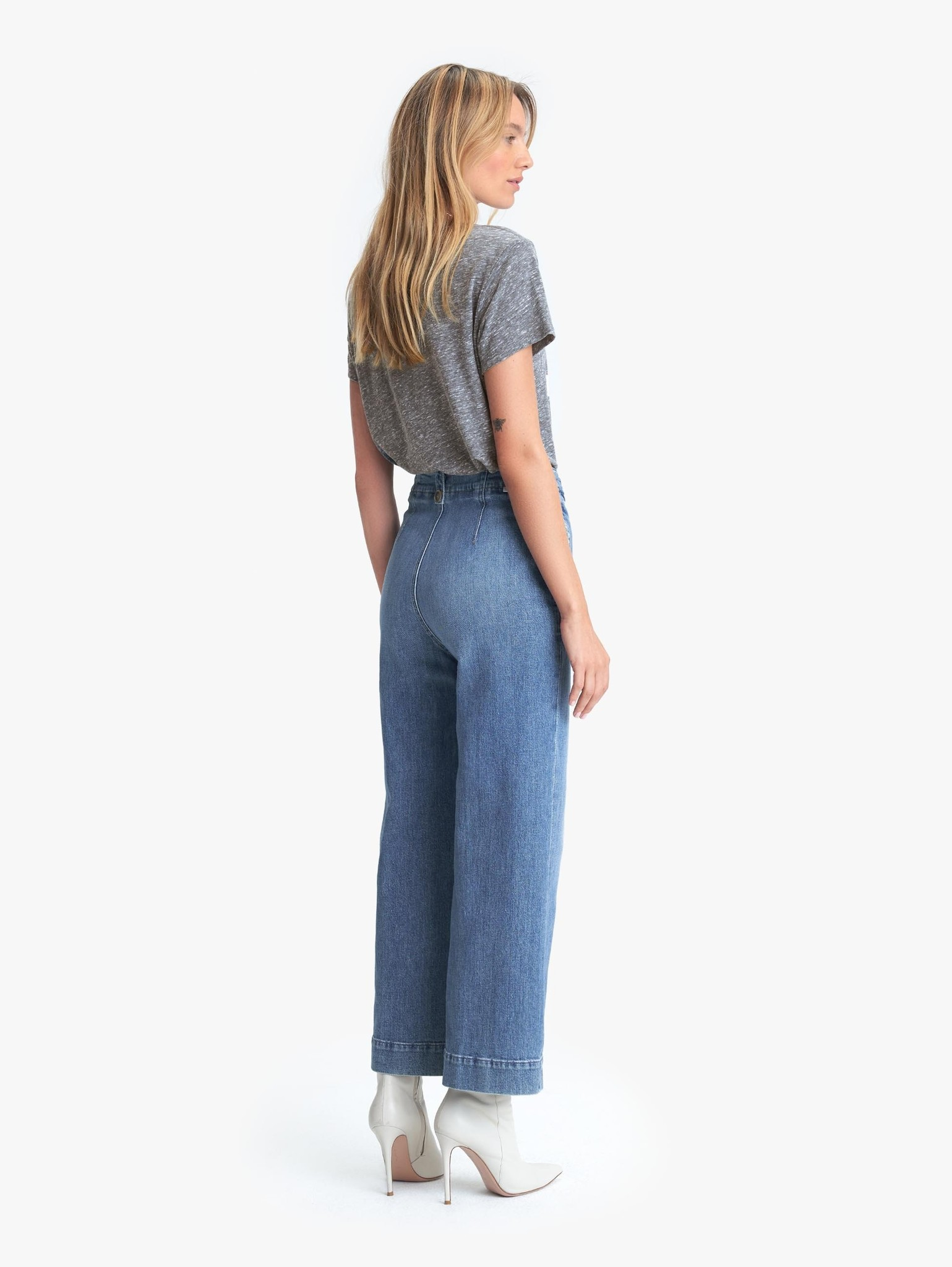 Mother Mother Zipped Greaser Loop High Waisted Wide Leg Jeans