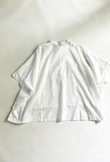 Mizuiro Mizuiro Drop Shoulder Eyelet Shirt in Off-White Cotton