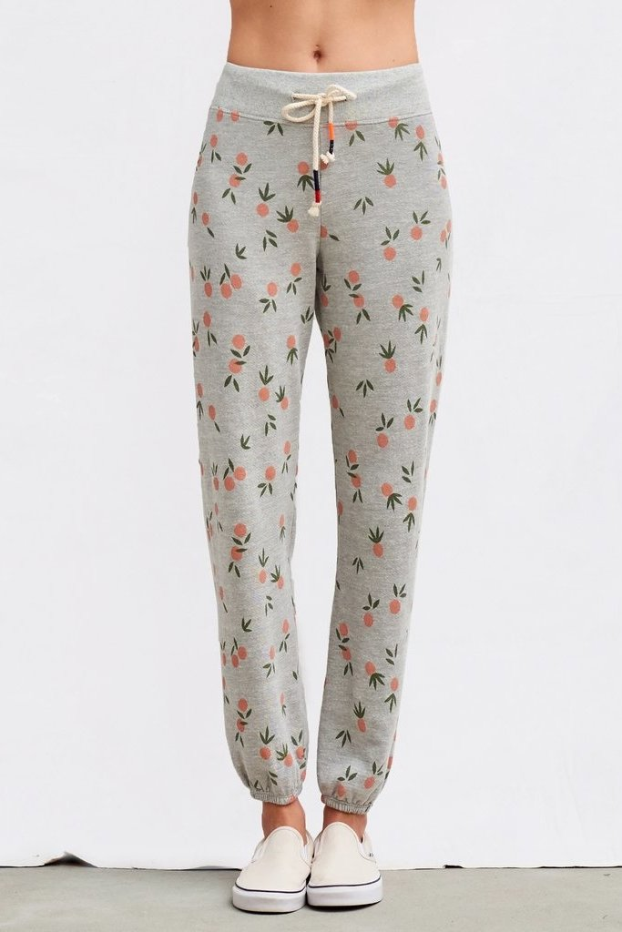 Sundry Tangerine Print Grey Terry Sweatpants