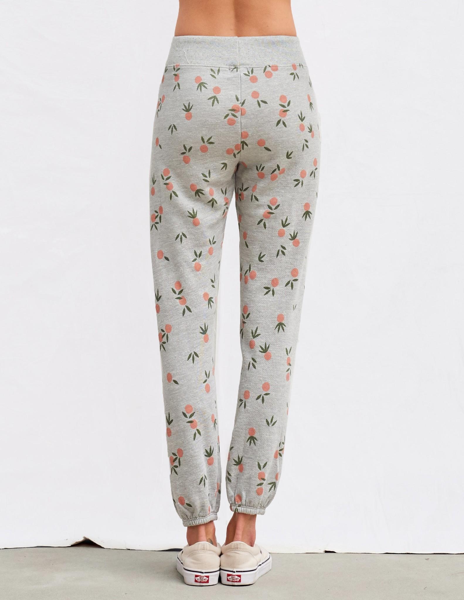Sundry Tangerine Print Grey Terry Sweatpants