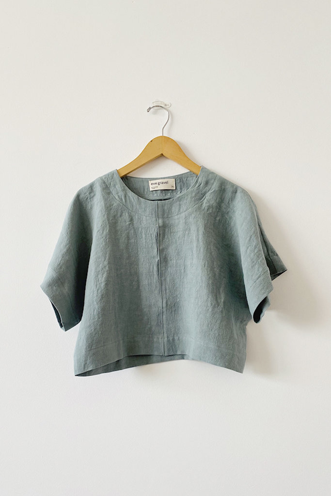 Eve Gravel Eve Gravel lle D'Or Light Blue Boxy Linen Top