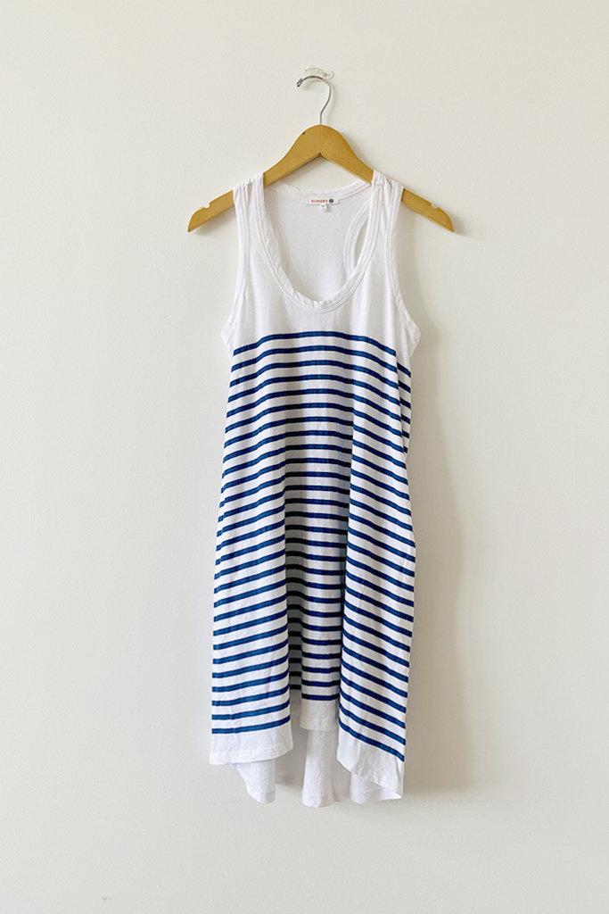 Sundry Racer Back Jersey Dress in White and Navy Stripe