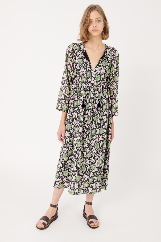 masscob Masscob Cascavel Floral Open-Neck Midi Dress