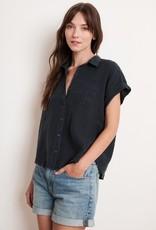 Velvet Velvet Emerson Short Sleeve Button Up Linen Top