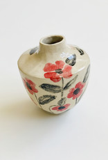 Alice Cheng Studio Rose Painted Ceramic Vase
