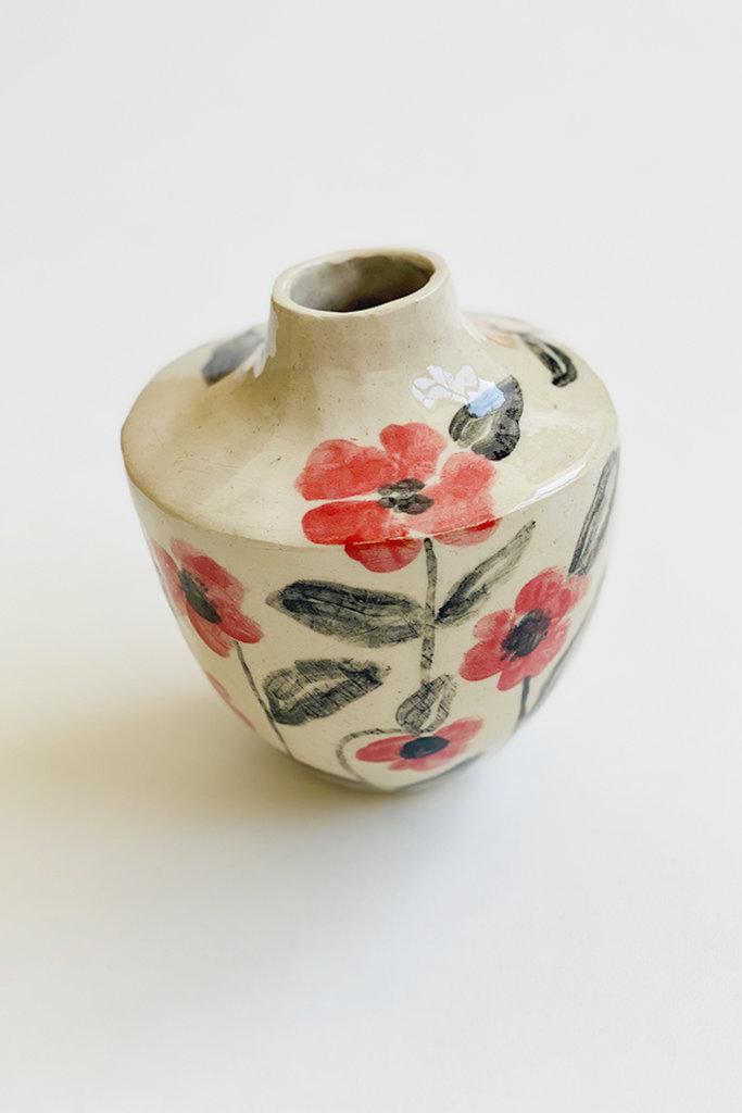 Alice Cheng Studio Rose Painted Ceramic Vase