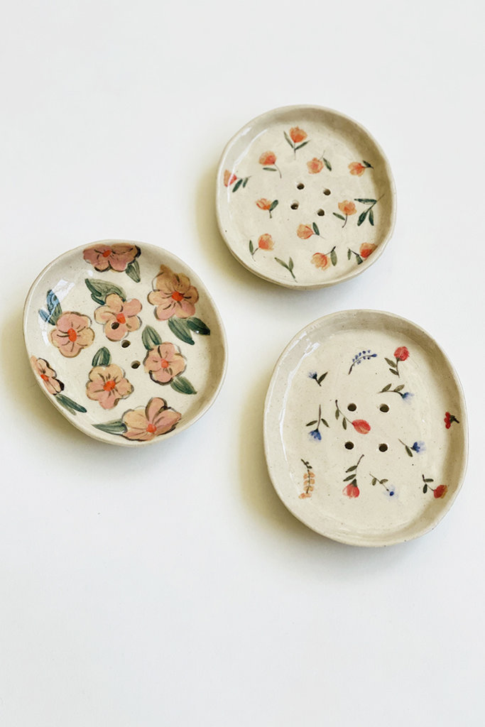 Alice Cheng Studio Hand Painted Soap Dish Floral