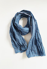 Fog Linen Work Amand Scarf Blue Plaid