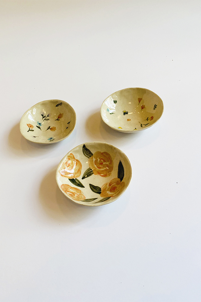 Alice Cheng Studio Handpainted Flowers Ceramic Dishes - Multiple Patterns