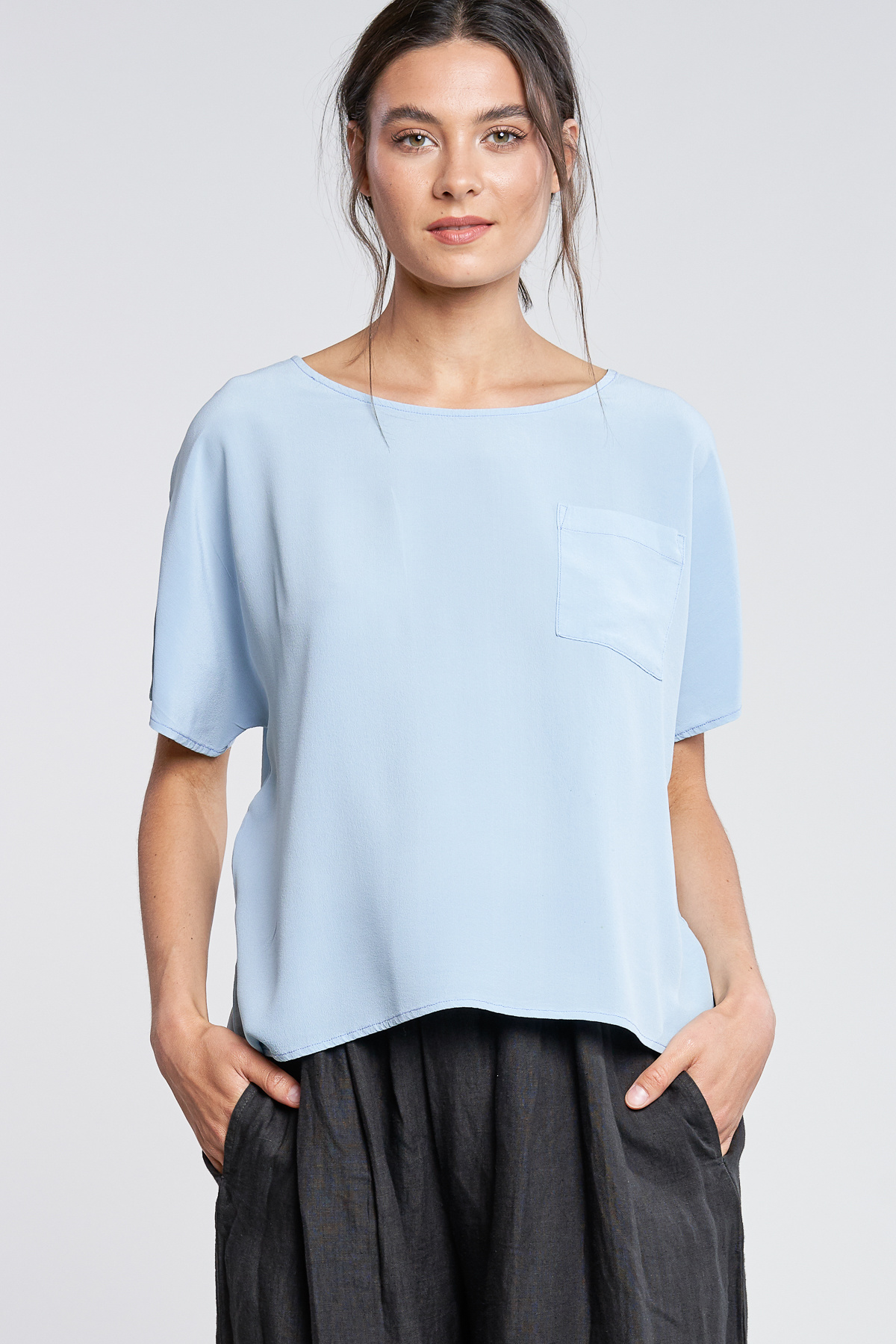 filosofia Filosofia Paige Silk Top with Front Pocket